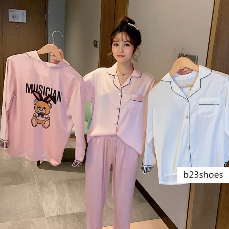 pijamas coreanos resorte de las mujeres y delgado de manga larga celebridad de Internet mismo estudiante estilo oso lindo ropa para el hogar de seda de hielo otoño