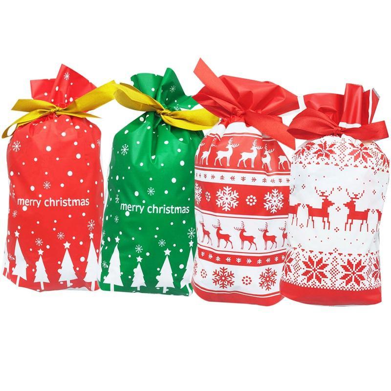Christmas Tree Gift Bags Santa Printed Packaging Plastic ...