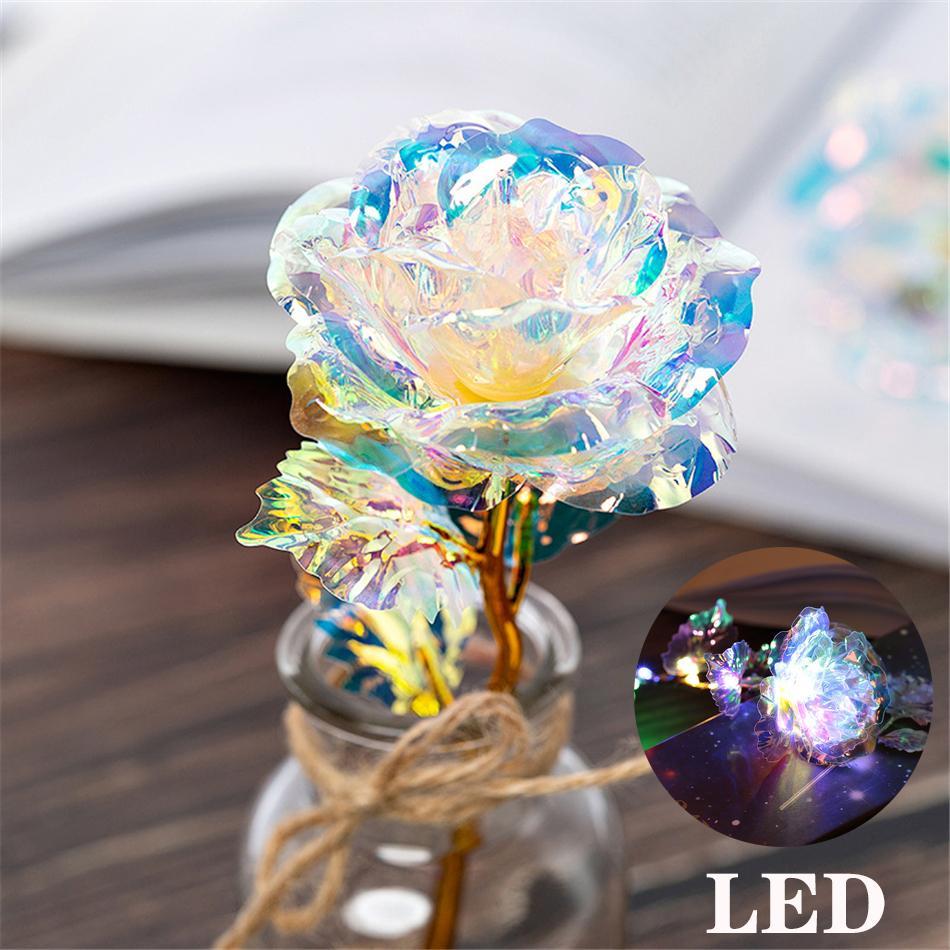 Día de San Valentín LED Luminous 24k Oro Lámina plateada Los regalos creativos de Rose duran para siempre Rose para los regalos del Día de Navidad de la boda del amante