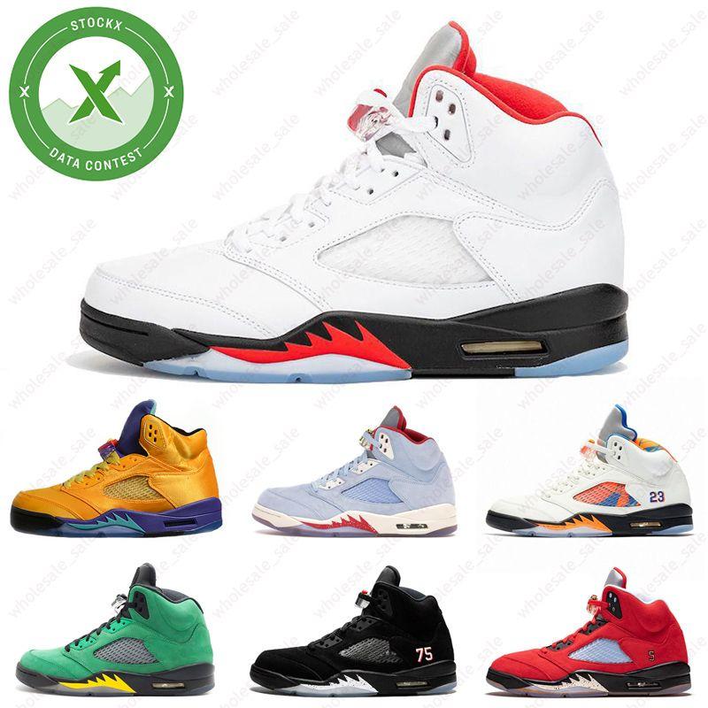 2020 أجنحة 5 الحريق الأحمر الرجال أحذية كرة السلة 5S الجزيرة الخضراء قشر البرتقال أبيض أسود العنب الرياضة احذية شيبمنت الحرة