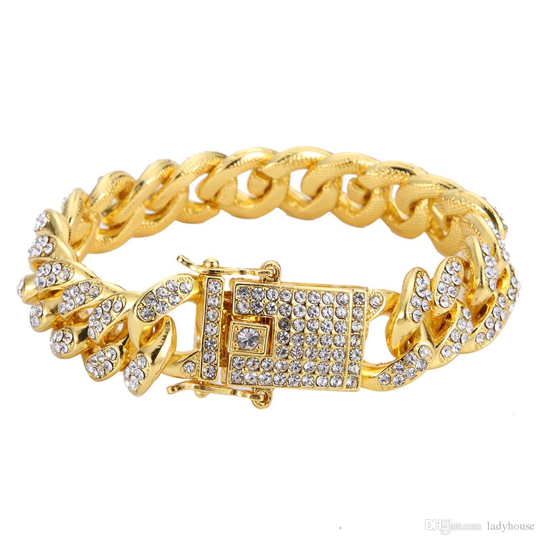 Cuban Link Bracelet Iced Out Bangle Hip Hop Bling Chains Jewelry for Cool Men Women 2019 New Fashion