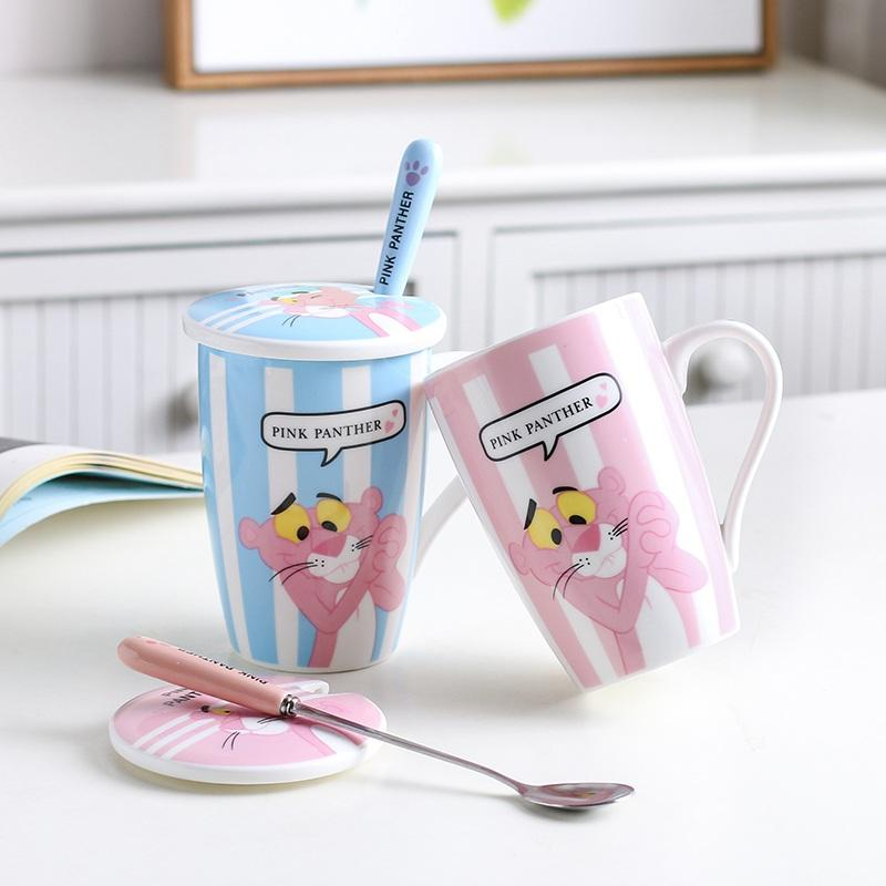 New Pink Panther Mug With Spoon And Cover 380ml Pink Naughty Leopard Ceramic Coffee Cup For Girl Boy Birthday Xmas Gift