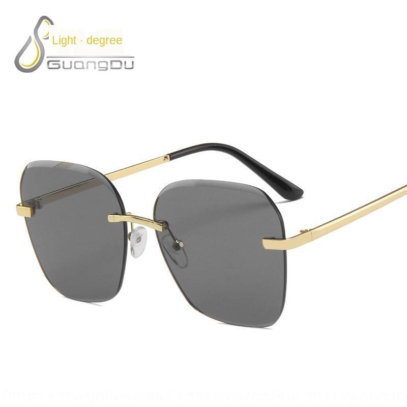 Frauen-randlos Sonne Metall Ozean Sonnenbrille Besatz Gläser modische Sonnenbrille Männer
