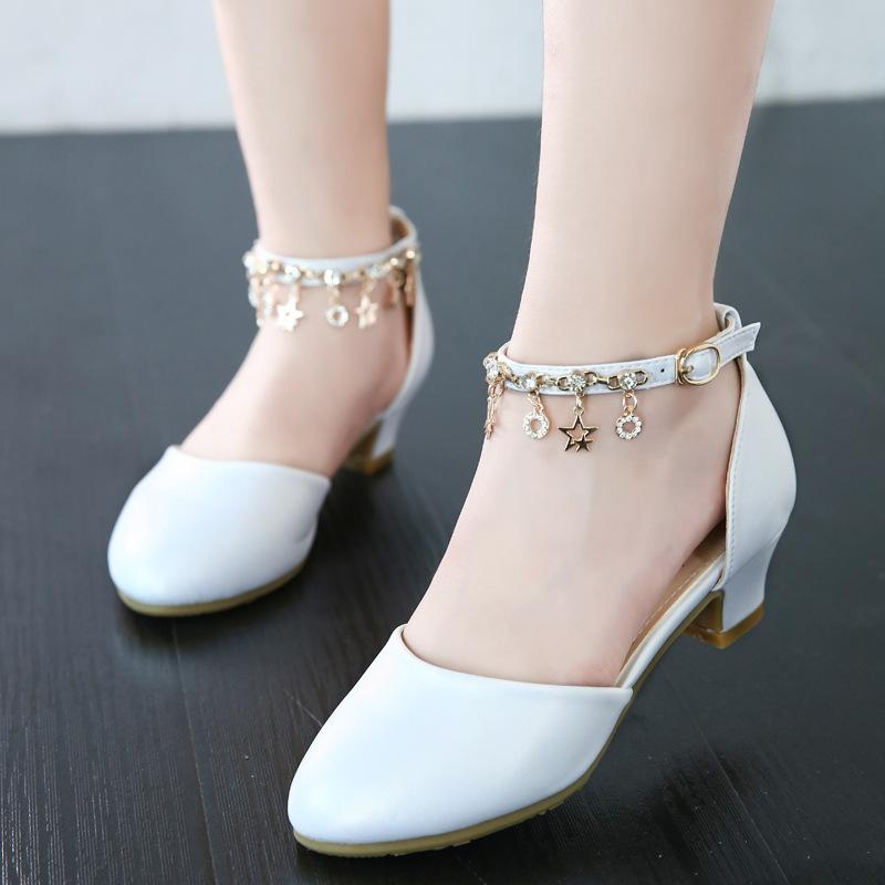 Niñas, zapatos de la princesa, zapatos de tacón, 2018 primavera y otoño las nuevas actuaciones de piano, sandalias de los zapatos de los niños blancos. T200411