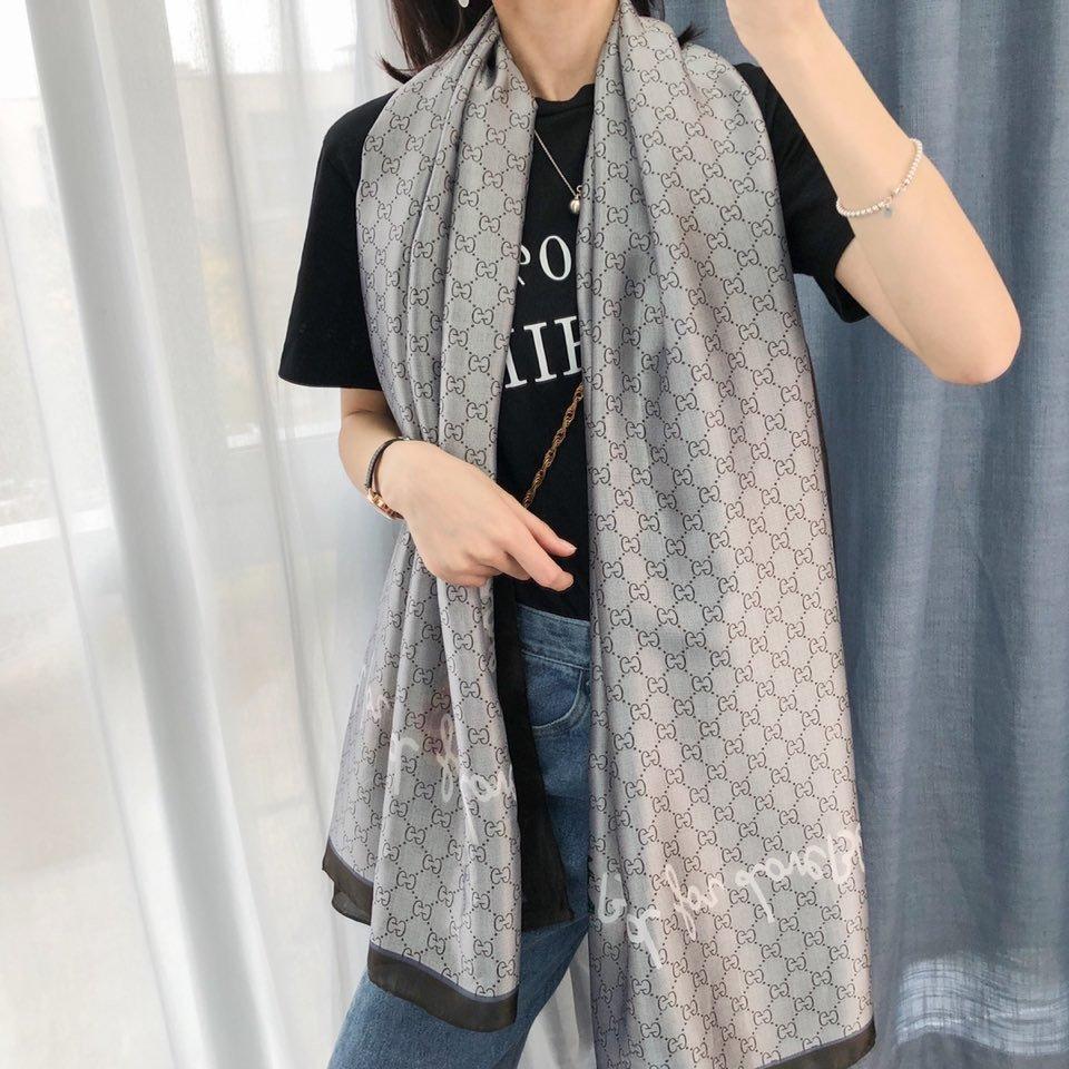 2020 весной и летом бренд шелковые шарфы кружевной воротничок высокого качества дизайнер письма длинный шарф размер 180 x90cm цветочный тонкий шарф