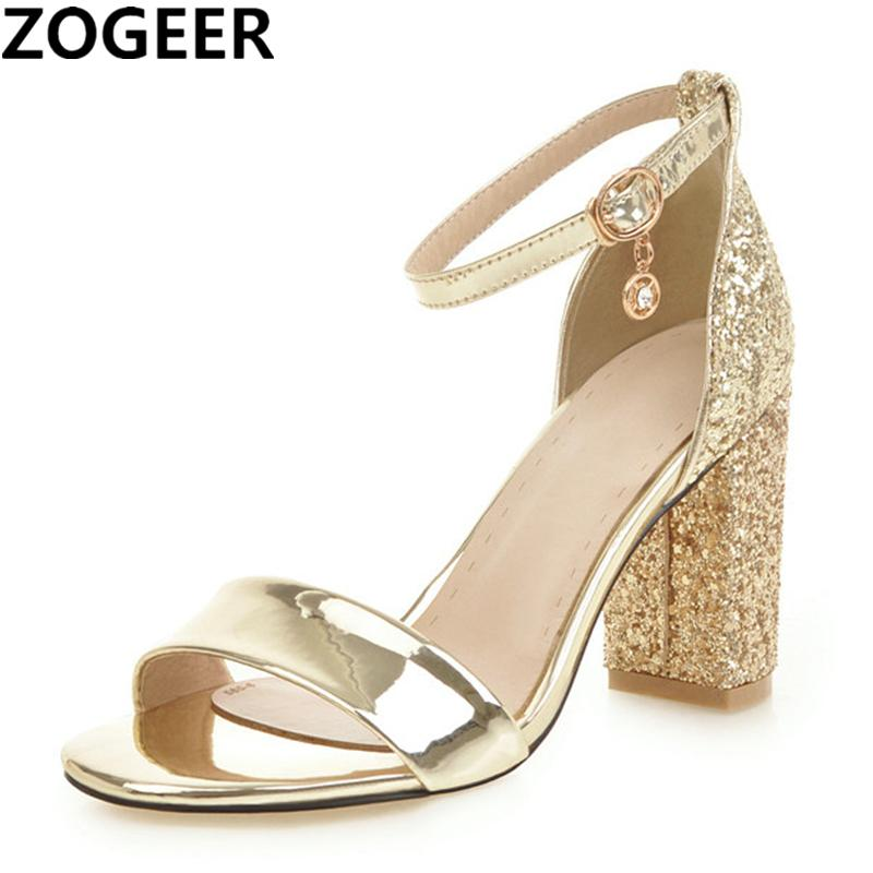 Summer Silver Gold Sandals For Women Fashion High Heels Gladiator Sandals Sequined Sexy Party Wedding Shoes Woman Large size 46 Y200405