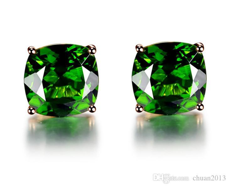 aguja turmalina piedra preciosa espárrago temperamento cuadrado de cristal fino de cuatro - garra pendiente baratija solo diamante sencillo