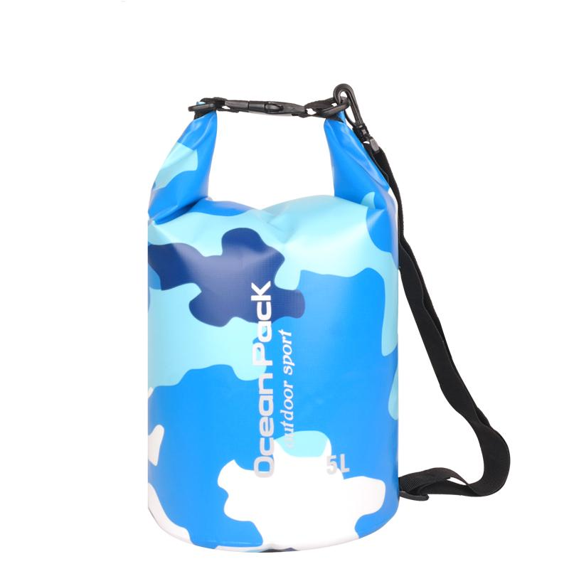 5L Camouflage Sport Outdoor Packs Dry Storage Ocean Pack Waterproof Dry Bag PVC Backpack For Hiking Climbing Boating Drifting River Trekking