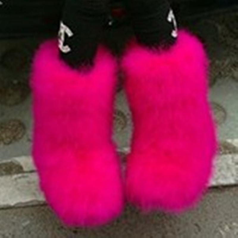 여자 실제 타조 머리 모피 모피 발목 부츠 눈 따뜻한 겨울 플랫 라운드 발가락 다채로운 신발 11Colors 플러스 사이즈 새로운 패션