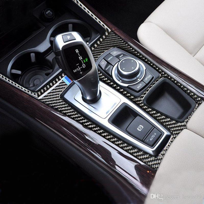 BMW E70 E71 X5 X6 액세서리 탄소 섬유 자동차 내부 제어 기어 시프트 커버 트림 내부 스톨 장식 장식 패널 스티커