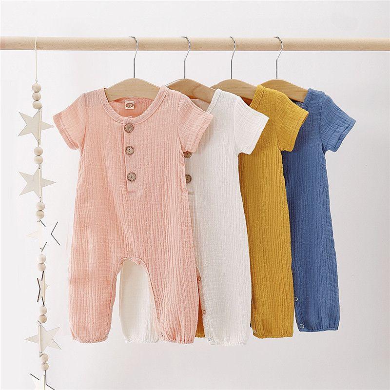 INS Bebek Kız bebekler tulumları Romper Yaz Ön Ahşap Düğme Blank Boys Tulumlar Bebek Kıyafetler Pamuk Bodysuits Suspender 0-2T