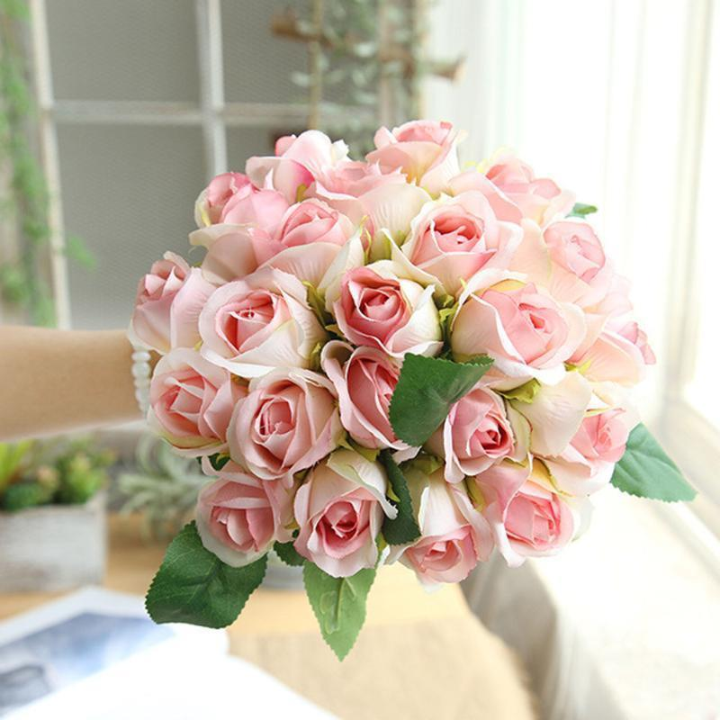 12PCS sacco artificiale della Rosa Mazzo decorativo rifornimenti di cerimonia nuziale della decorazione della seta fiori Sposa domestica Wedding del partito