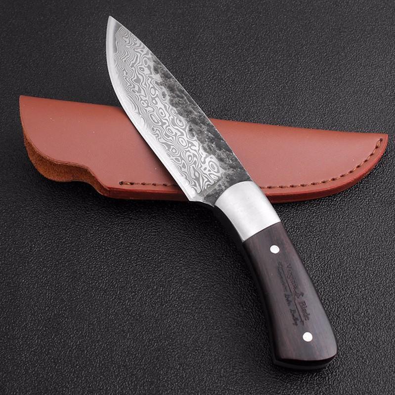 98mm 4 pulgadas alto contenido de carbono de acero patrón de Damasco fijo herramienta de rescate de la supervivencia del cuchillo de caza de Sharp forjado hecho a mano lámina que acampaba táctico