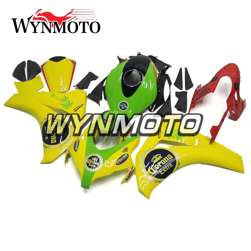 Carenature integrali in plastica ABS per Honda CBR1000RR 2008 2009 2010 2011 CBR 1000RR 08 09 10 Carrozzeria del motociclo Carenature verdi gialle