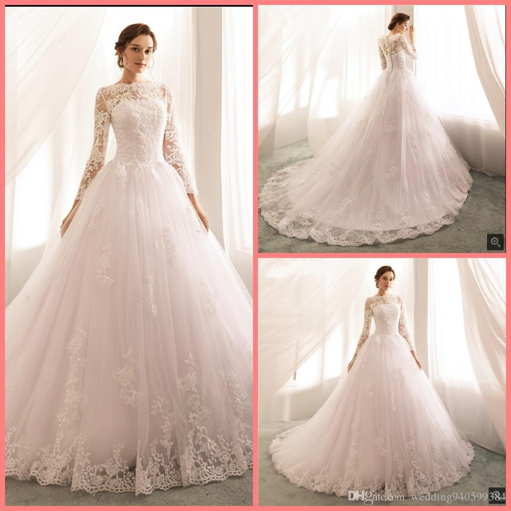 2019 New Arrival Ball Gown White Lace