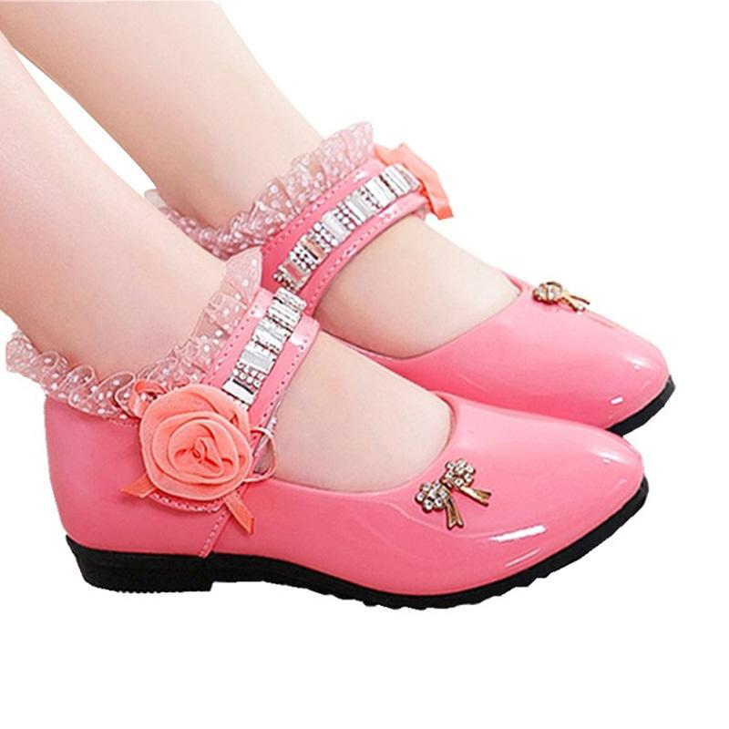 Girls Shoes 2018 Spring Pu Rhinestone Rose Flower Princess Party Elegant Wedding Shoes For Girls Flat Casual Leather Kids Shoes Y19051303
