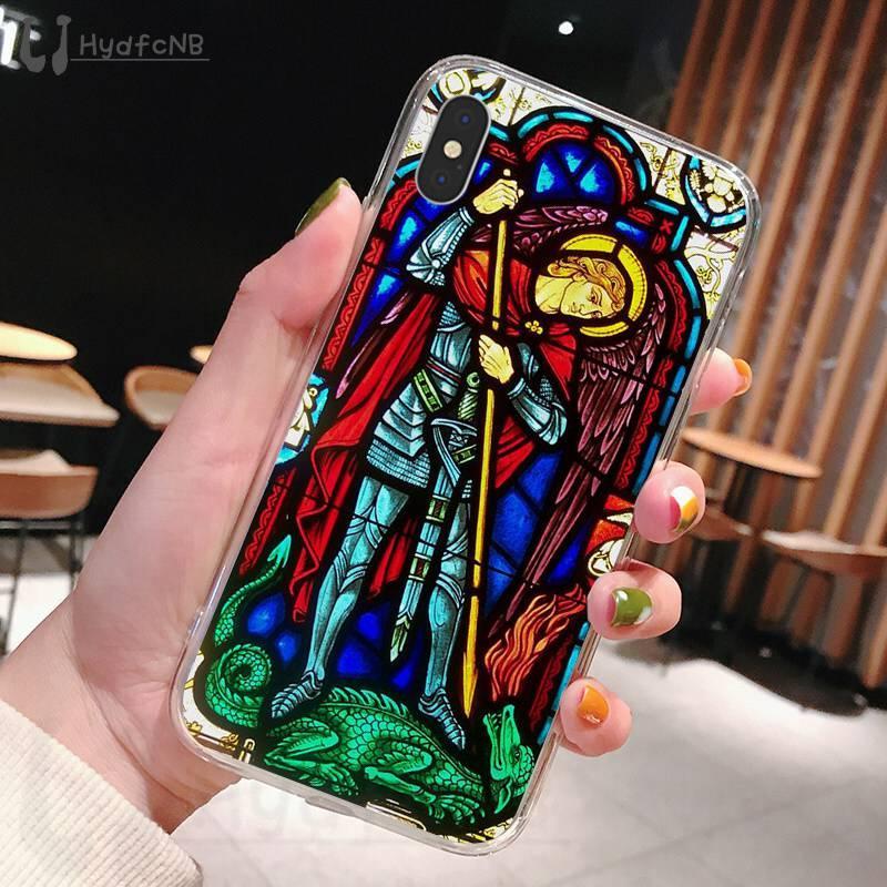 2020 Angel Церковь Иисуса Витраж ТПУ Мягкий чехол для телефона iPhone 11 Pro XS MAX 8 7 6 6S Plus X 5 5S SE XR охватывают оптовая