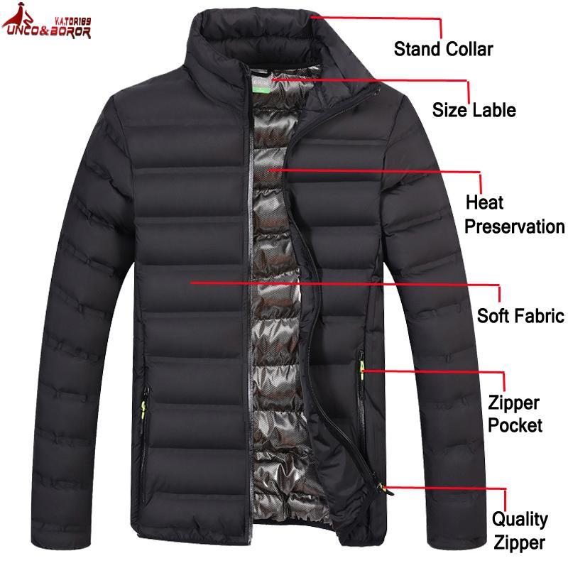 Hombres New Otoño Invierno Luz de algodón acolchado chaqueta de bombardero Parka Windbreakers