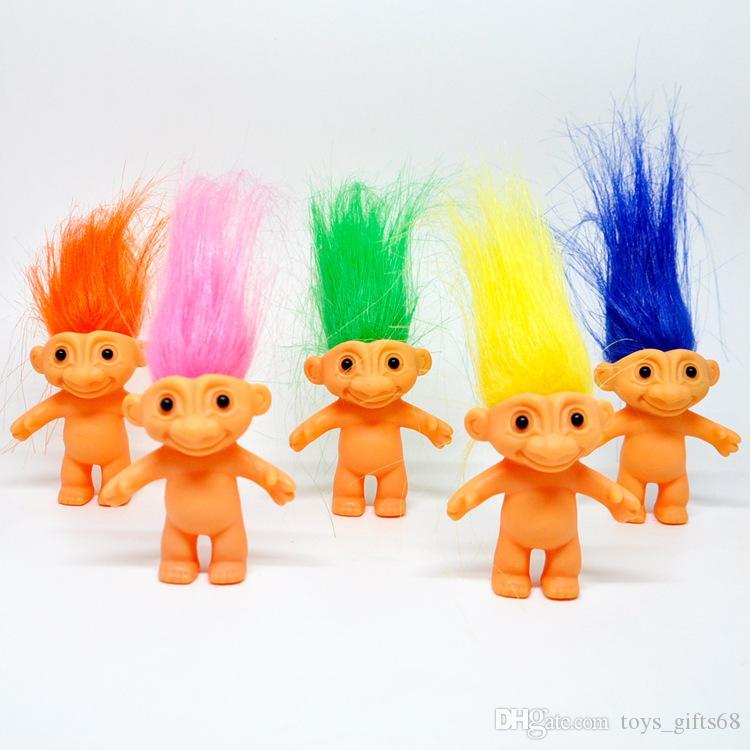 Capelli indiani ragazzo brutto bambino bambola in vinile retrò troll bambola 80 dopo 6 cm di altezza capelli lunghi capelli magici