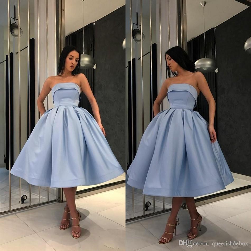 Hot Light Blue Short Prom dresses For Girls 2019 Simple Under 100 Formal Gowns Strapless Satin ball Gown Party Homecoming Cocktail Dress