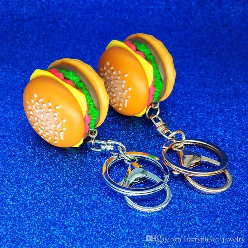 Criativa hambúrguer simulação Keychain DIY acessórios feitos à mão Resina pingente keyring ornamentos saco keyring jóias da moda