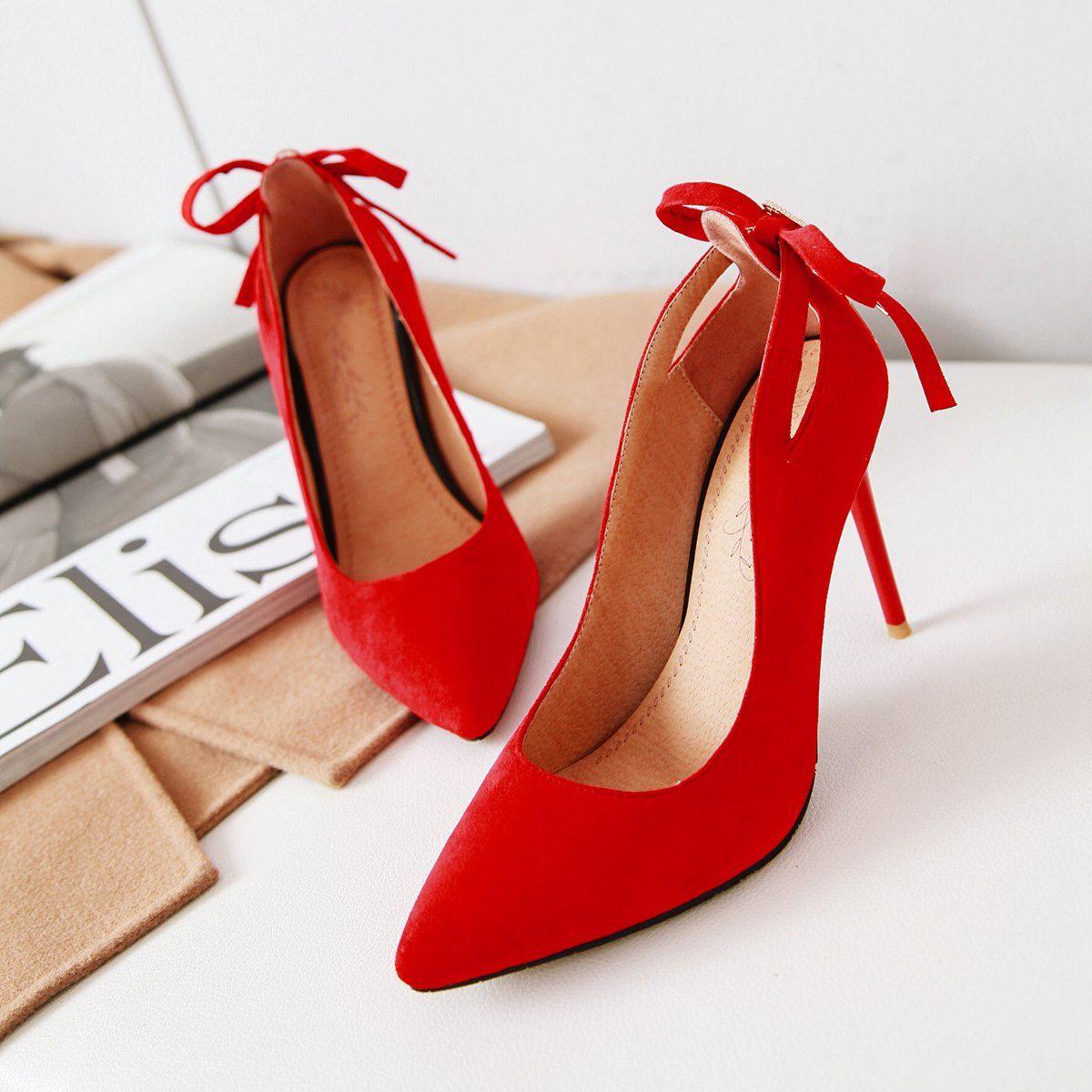 Les nouvelles chaussures de mariage talon aiguille sexy Suede Retour de coupe-Bowtie femmes Pointu Toe Pompes 100mm mode de talons hauts pour femmes Robe Bureau