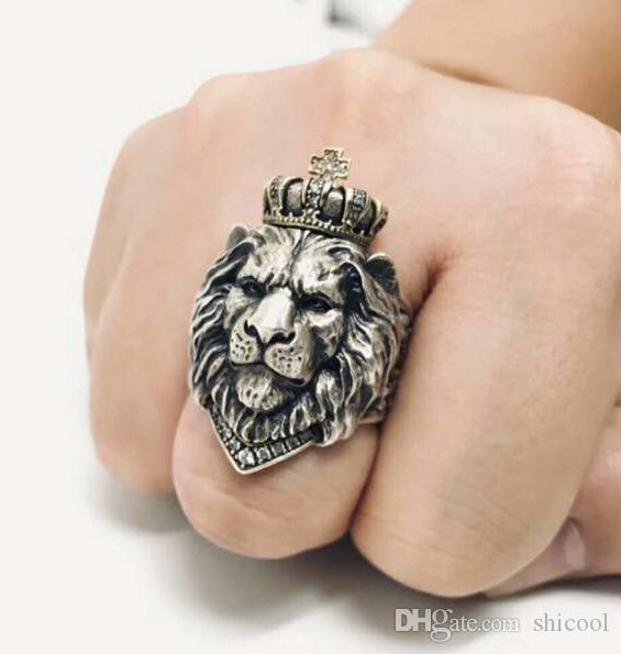 Anillo de león vintage Anillo de piedra blanca / roja Hombres Gótico Plata León Animal Vikingo Joyería Nueva llegada