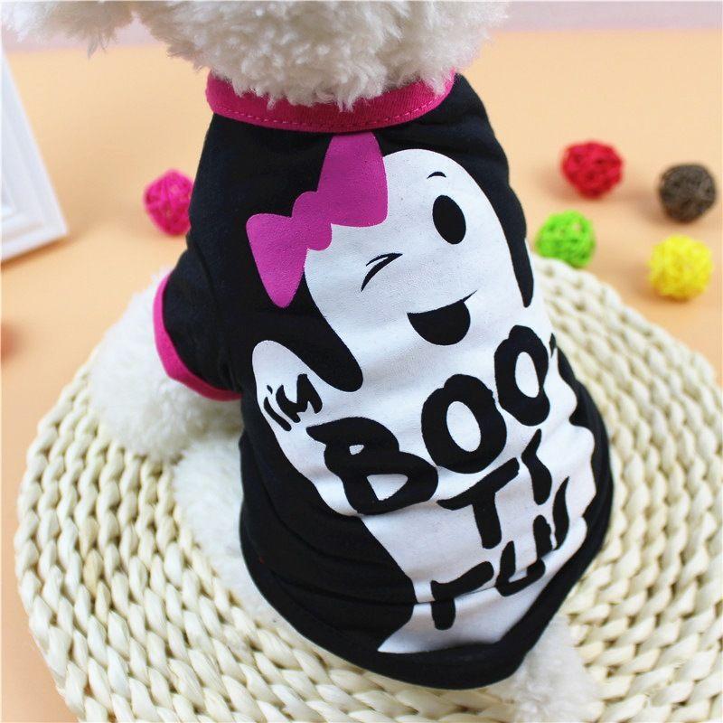 Halloween Pet Dog Clothe XS/S/M/L Cartoon Ghost Letter Print Dog Shirt Spring Summer Pet Clothes Halloween Small Dog Clothe DBC VT0878