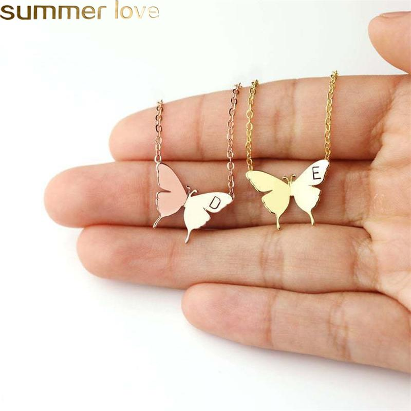 Stainless Steel Engraved Initial Necklace Gold Butterfly Pendant Necklace Wedding Memory Best Gifts