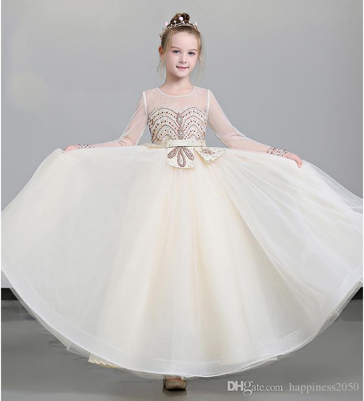 Grace Beige Jewel Sleeves Beads Girls Pageant Dresses Flower Girl Dresses Princess Party Dresses Child Skirt Custom Made 2 14 H317488 Junior Dresses