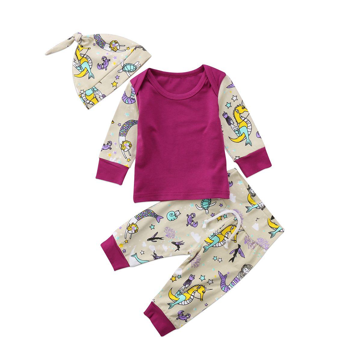 3pcs infantil para niños de los bebés ropa de manga larga Beautiful Fish camiseta tops + Sombrero Trajes Set informal