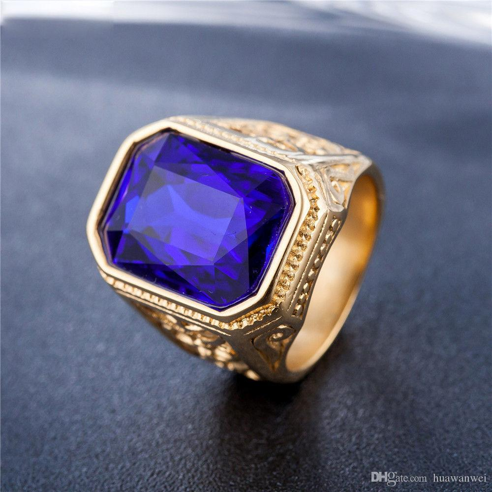 Venta caliente grandes anillos de piedras preciosas vintage atractivo anillo de acero de titanio anillo de acero de titanio anillo de fundición para el hombre envío gratis