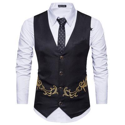 Мужской костюм жилет осень и зима новая мода европейский размер мужской повседневный костюм жилет вышивка однобортный мужчины 062
