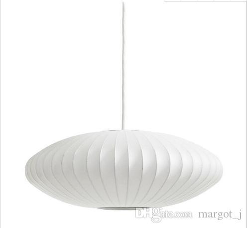 Hot George Nelson Bubble Saucer Lamp E27 LED White Silk Pendant Light White Silk Flat Ball Pendant Lights Lamp White Silk hanging Lighting