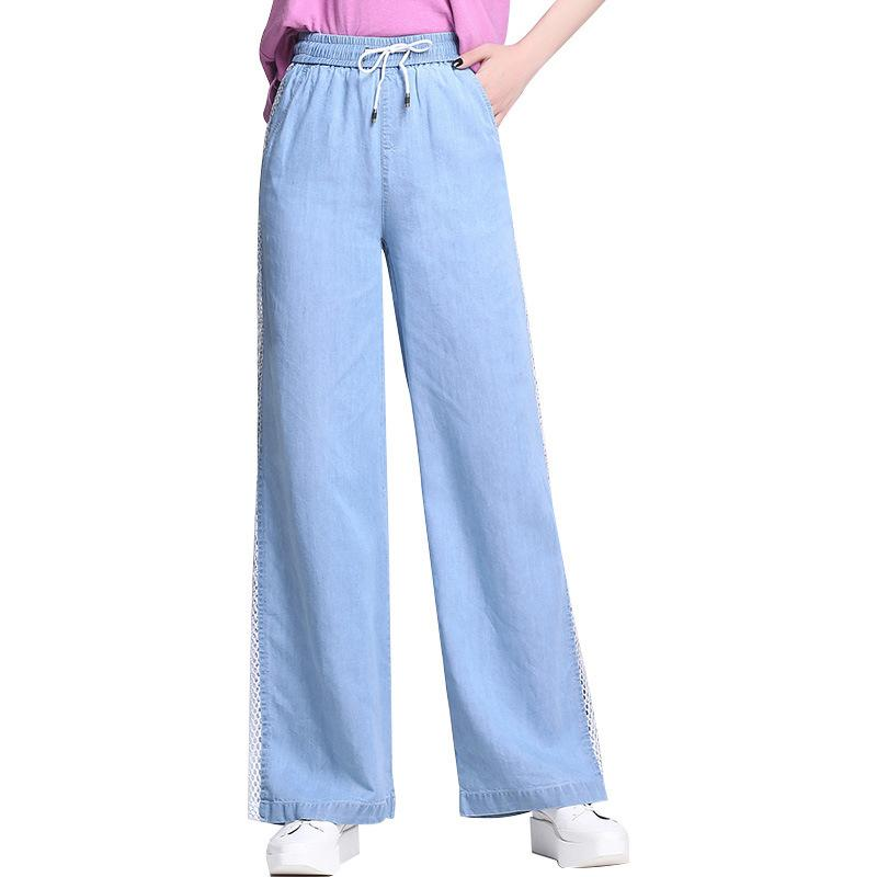 2019 Spring Summer Ladies High Waist Wide Leg Pant Female Boyfriend Jeans Thin Trousers Woman Plus Size 4XL