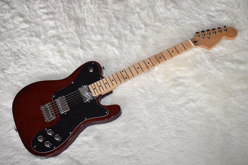 Fabrika özel koyu kırmızı elektro gitar büyük mesnetli, krom donanım, akçaağaç boyun, yüksek kalite