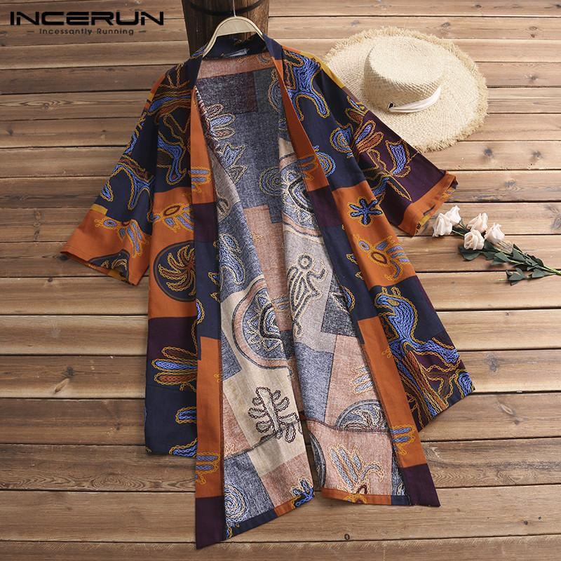 Fashion Cardigan Ethnic Mens Trench Cloak Half Sleeve Shirts Tops Harajuku Kimono Hombre Vintage Chinese Men Clothing Chemise