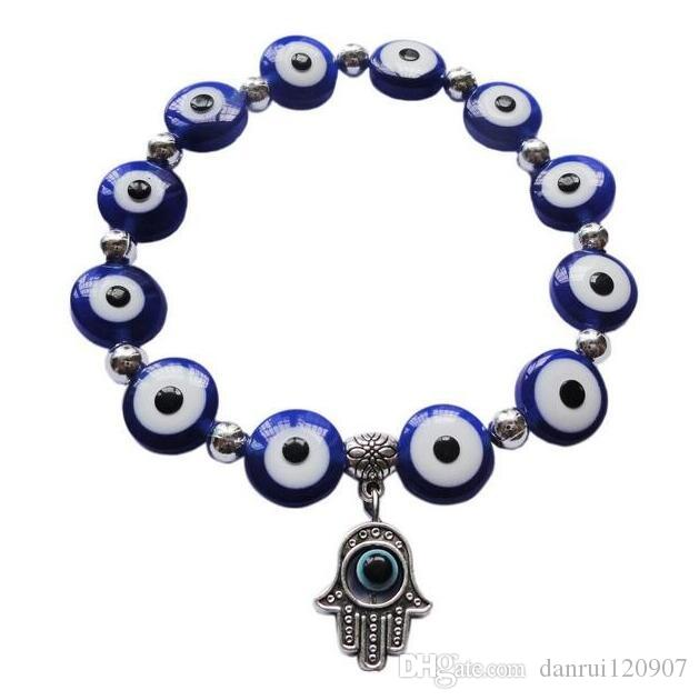 New Fashion 5 Color Evil Eye Beaded Bracelet with Against Evil Eyes Fatima Hamsa Hand Charms Lucky Bangle Wristband Protection Jewelry -77