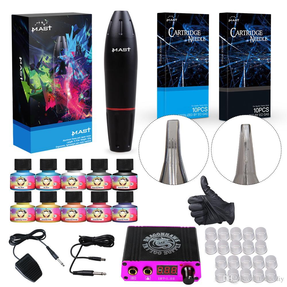 Complete Tattoo Kit Mast Rotary Motor Pen Machine Liner Shader Needles Inks Mini Power Supply