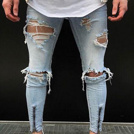 Erkek kot yırtık delik açılmış erkek yüksek sokak mavi bacak fermuar fit bisikletçinin moda uzun kalem pantolon erkek pantolon hip hop ince sıkıntılı