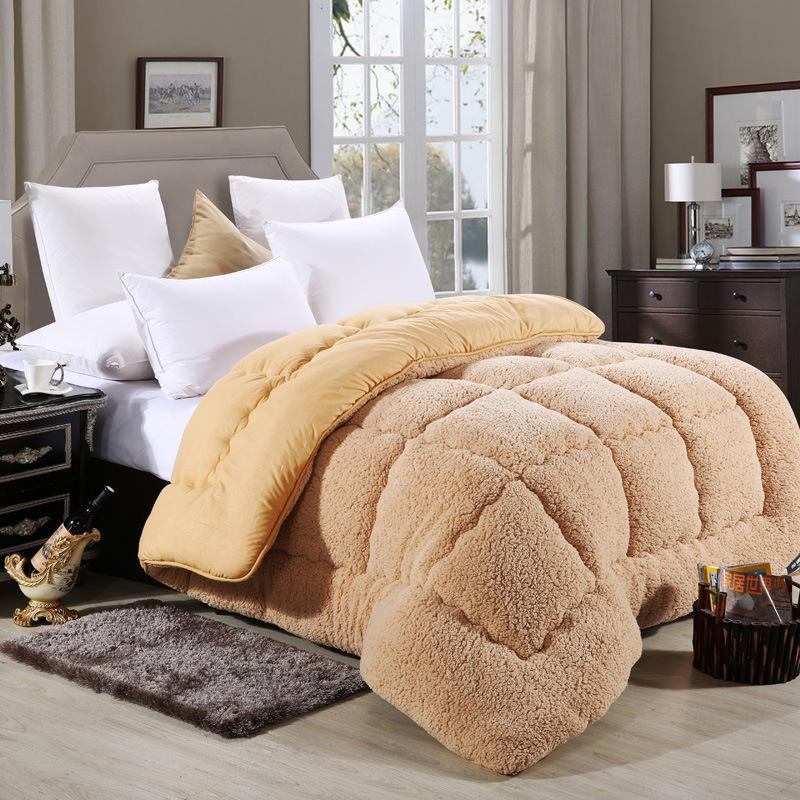 Thick Warm Winter Quilt Lambswool Solid Comforter White Brown Lamb Cashmere Bed Cover Quilting Quilt Home Textiles