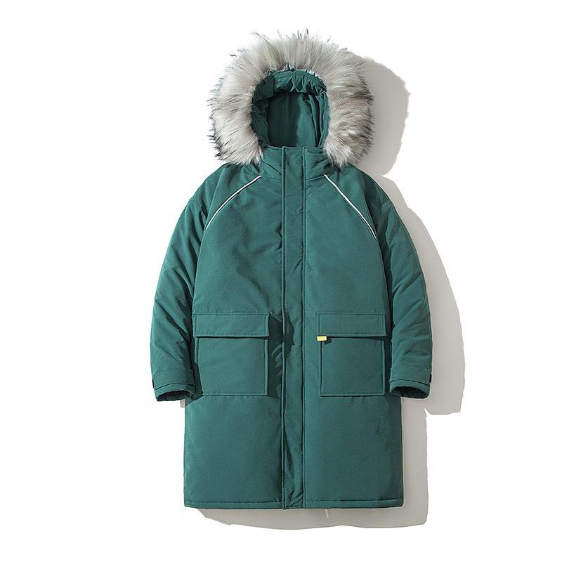 Мужчины пуховики Parkas зимняя куртка пальто мужчины утолщены теплый большой меховой воротник с капюшоном длинная ветровка водонепроницаемый хлопок пальто