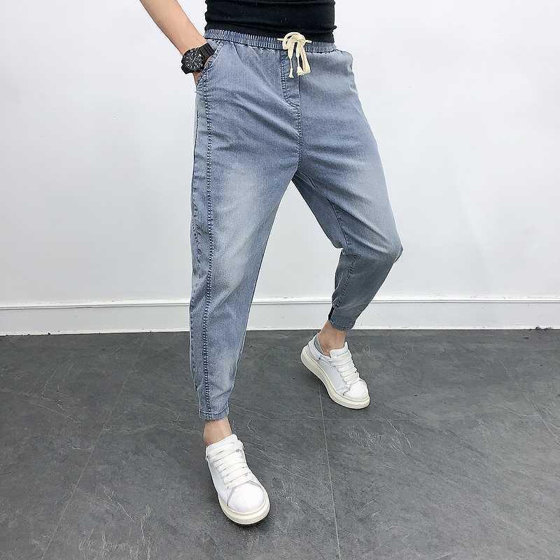 İlkbahar Yaz Kot Erkekler Moda 2020 Kore Slim Fit Denim Erkek Kot Pantolon Hip Hop Tüm Maç Streetwear Casual Pantolon Erkekler 36