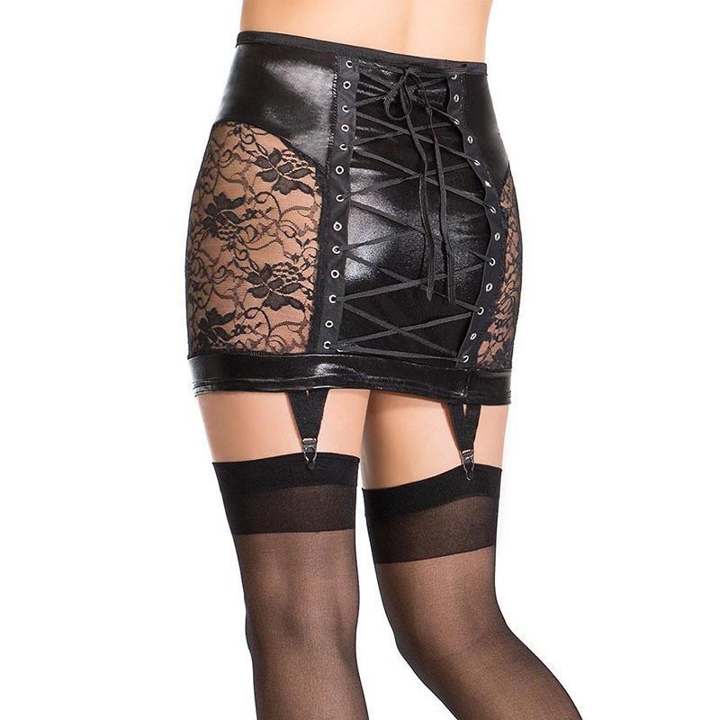 Lace Up Neuheit durchschaut Rock-Frauen PU-Leder Bodycon Clubwear Blumenspitze Paket-Hüfte-Rock-reizvollen Gothic-Rock mit Strumpf