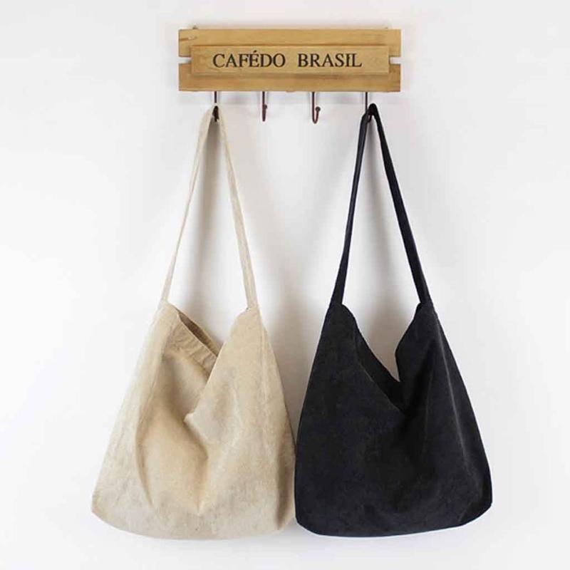 Women Corduroy Shoulder Bag Canvas Cloth Fabric Handbag Casual Tote Ladies Big Shopping Bags College Students Books Bag Sac #AF
