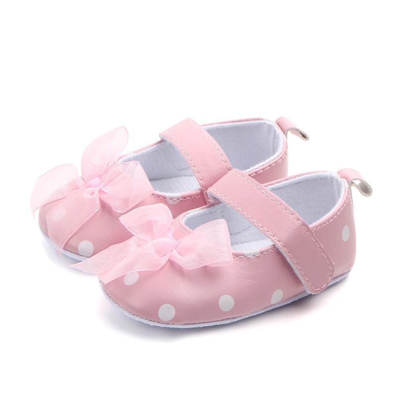 Clásico Niños Bebé Niños Niño Chica Dot Lace Mariposa Nudo Piso Zapatos Otoño Moda Antideslizante Suave Niños Pequeños Primeros Caminantes