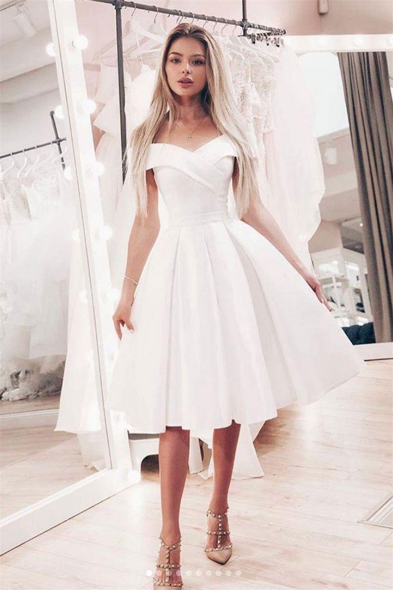 Elegant Satin Short Homecoming Dress 2019 Elegant White Off Shoulder Girls  Graduation Party Gown Plus Size Prom Gowns Cheap Sale