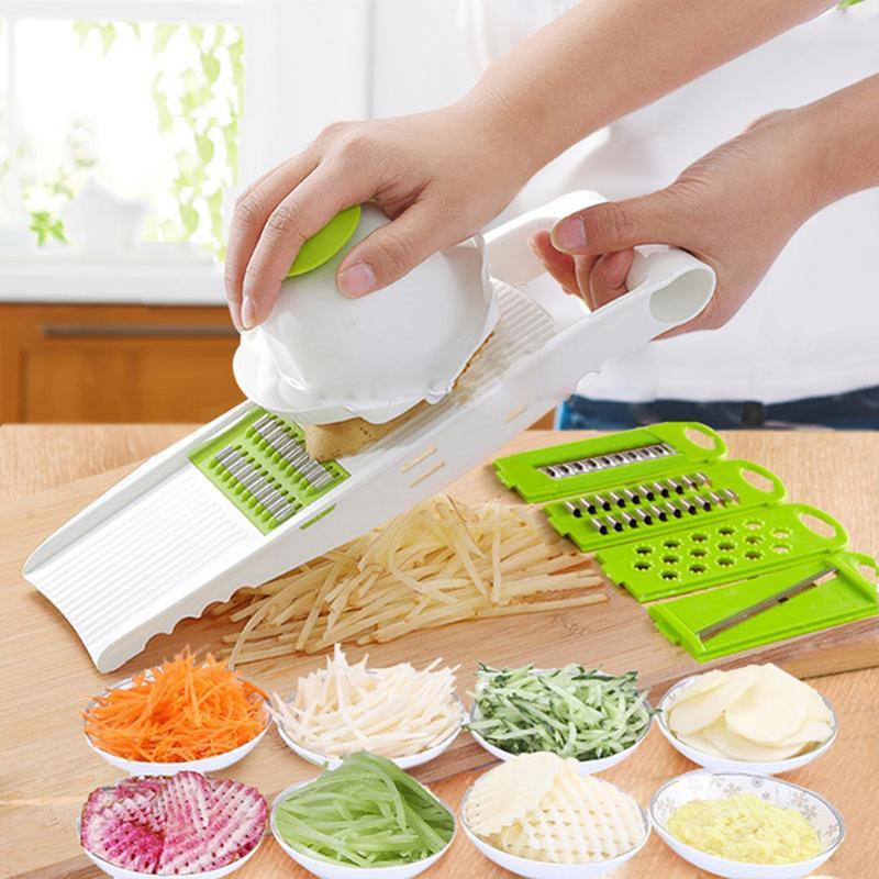 Eco-Friendly 5 In 1 Vegetable Slicer Potato Peeler Grater Spiral Fruit Cutter Salad Maker Home Gadgets Kitchen Accessories Cooking Tools