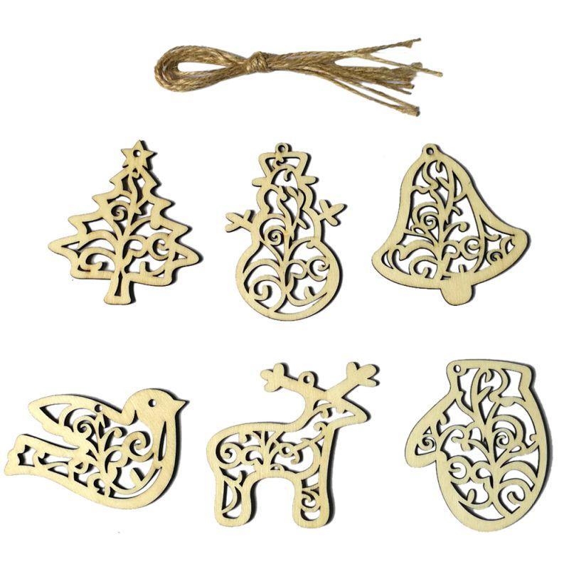 6PCS / Lot madeira Ornamento da árvore de Natal Elk madeira de suspensão pendente pequeno Decorações do partido Pro
