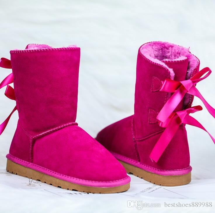 Diseñador de las mujeres nieve del invierno botas de moda botas de Australia corta clásica muchacha del arco del arco de la rodilla del tobillo de arranque MINI Bailey 2020 TAMAÑO 35-41